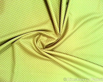 "Lime Green - 100% Cotton Poplin Dress Fabric Material - 3mm Polka Dot / Spot - Metre/Half - 44"" (112cm) wide"