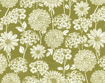 "White on Green Floral Flowers - 100% Cotton Poplin Dress Fabric - Material - Metre/Half - 44"" (112cm) wide"