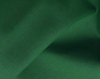 "Bottle Green - 100% Cotton Canvas Fabric - Plain Solid Colour Material - 57"" (146cm) wide"