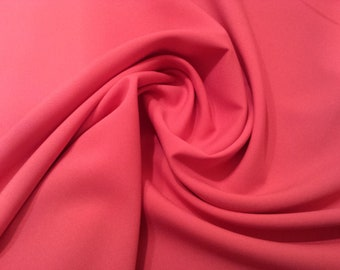 "Cerise Pink - Polyester Bi-Stretch Panama Suiting Dress Fabric - 147cm (58"") Wide"