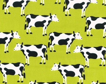 "Friesian Dairy Cows on Green - 100% Cotton Poplin Dress Fabric - Material - Metre/Half - 44"" (112cm) wide"