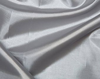 "Silver Habotai 'Silk' Lining Fabric Polyester Material 145cm (57"") Wide"