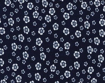 "Ivory Flowers on Navy Blue - Ponte Roma Print Stretch Soft Knit Jersey Fabric - 150cm Wide (59"")"