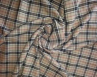 "Beige (Thompson) - Tartan Fabric - PolyViscose - Metre/Half - 59"" (150cm) wide"