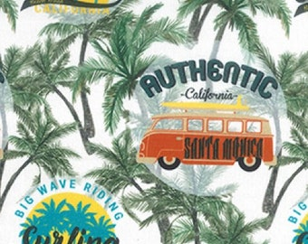"Camper Vans & Palm Trees California - 100% Cotton Poplin Dress Fabric - Metre/Half - 60"" (150cm) wide"