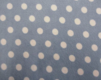 "White Spots on Pale Blue - Polar Fleece Fabric - Metre/Half - Anti Pil - 59"" (150cm) wide"
