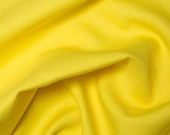 "Yellow - Polyester Twill Plain Fabric 150cm (59"") Wide Dressmaking Material"