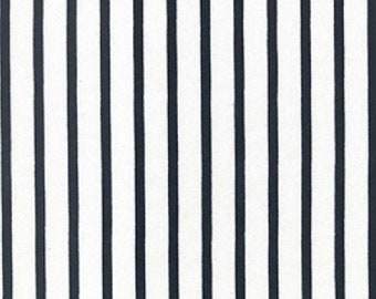 "Ivory Navy Blue Striped - Ponte Roma Print Stretch Soft Knit Jersey Fabric - 150cm Wide (59"")"