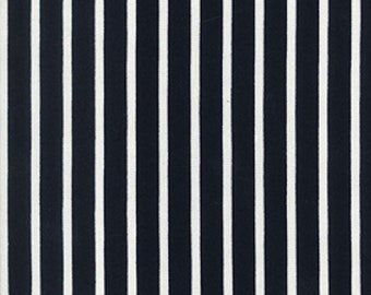 "Navy Blue Ivory Striped - Ponte Roma Print Stretch Soft Knit Jersey Fabric - 150cm Wide (59"")"