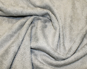 "Silver/Grey Bamboo Terry Towelling Fabric - Plain Solid Colours - Towel Material - 150cm (59"") wide"