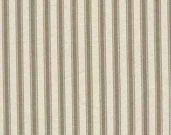 "Taupe on Ivory - 100% Cotton Ticking Stripes Fabric Material - 137cm (53"") wide"