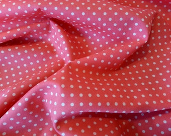 "Salmon - 100% Cotton Poplin Dress Fabric Material - 3mm Polka Dot / Spot - Metre/Half - 44"" (112cm) wide"