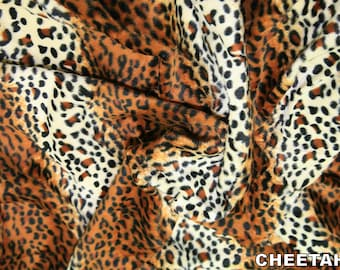 "Cheetah - Animal Print Polyester Velboa Fabric - Metre/Half - Faux Fur Pony Skin 58"" (145cm) wide Velour"