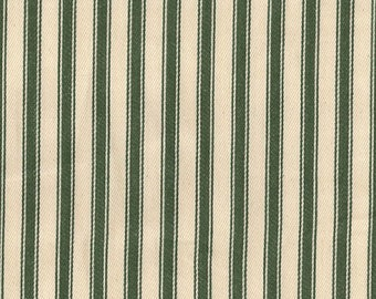 """Olive Green on Ivory - 100% Cotton Ticking Stripes Fabric Material - 137cm (53"""") wide"""
