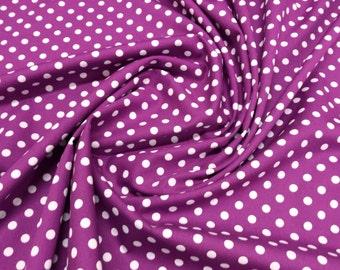 "White on Purple - 100% Cotton Poplin Dress Fabric Material - 7mm Polka Dot / Spot - Metre/Half - 44"" (112cm) wide"