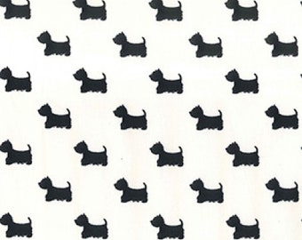 "Terrier Dog - Black on Cream - 100% Cotton Poplin Dress Fabric - Material - Metre/Half - 44"" (112cm) wide"