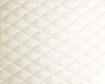 "White - Stretch Quilting Fabric Material - Polyester - 150cm (59"") wide, 7 Colours, Diamond Pattern"