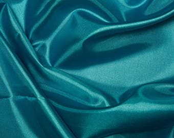 "Turquoise Habotai 'Silk' Lining Fabric Polyester Material 145cm (57"") Wide"