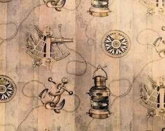 "Nautical Themed, Compass, Sextant, Anchor - 100% Cotton Poplin Dress Fabric - Metre/Half - 60"" (150cm) wide"