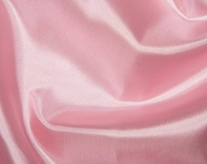 """Featured listing image: Clearance Pale Pink Habotai 'Silk' Lining Fabric Polyester Fabric - 145cm (57"""") Wide"""