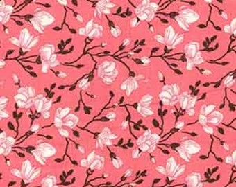 "Pink/Black on Blush Pink Floral Flowers - 100% Cotton Poplin Dress Fabric - Material - Metre/Half - 44"" (112cm) wide"