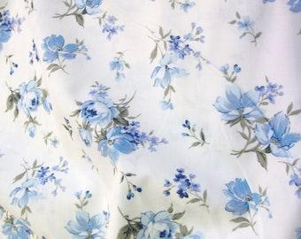 "Blue Flowers on Ivory Floral 100% Cotton Poplin Dress Fabric Material - Metre/Half - 44"" (112cm) wide"