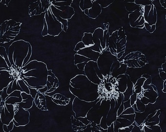 "Navy Blue - Floral Printed Velvet - Rayon/Polyester Fabric Material - 140cm (55"") wide"