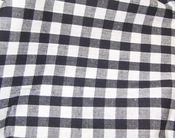 Black - Corded Gingham - Quarter Inch Check - Dress Fabric Material - Metre/Half - 44 inches (112cm) wide