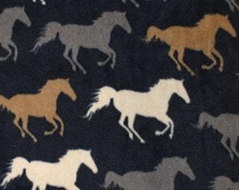 "Silver/Gold/Ivory Horses on Navy Blue - Polar Fleece Fabric - Metre/Half - Anti Pil - 150cm (59"") wide"