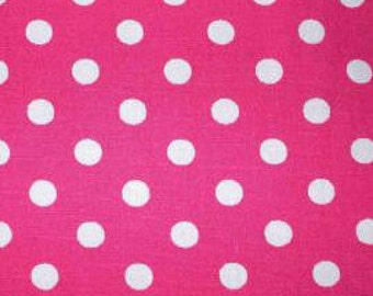 "White on Cerise Pink - 100% Cotton Poplin Dress Fabric Material - 7mm Polka Dot / Spot - Metre/Half - 44"" (112cm) wide"