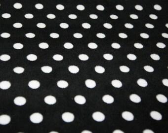 "White Spots on Black - Polar Fleece Fabric - Metre/Half - Anti Pil - 59"" (150cm) wide"