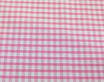Pink - Corded Gingham - Eighth 1/8 Inch Check - Dress Fabric Material - Metre/Half - 44 inches (112cm) wide