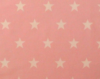 "White Stars on Pink (20mm) - 100% Cotton Poplin Dress Fabric - Material - Metre/Half - 44"" (112cm) wide"
