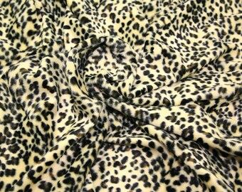 "Baby Leopard - Animal Print Polyester Velboa Fabric - Metre/Half - Faux Fur Pony Skin 58"" (145cm) wide Velour"