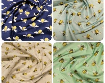 "Rose & Hubble Bumble Bees Fabric - 100% Cotton Poplin Material - Metre/Half- 44"" (112cm) wide"