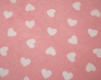 "White Hearts on Pink - Polar Fleece Fabric - Metre/Half - Anti Pil - 59"" (150cm) wide"