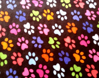 "Half Metre of Paw Print on Black - Polar Fleece Fabric - Metre/Half - Anti Pil - 150cm (59"") wide"