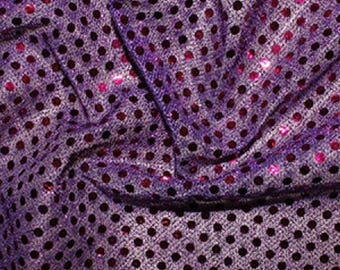 "Purple - 3mm Sequin Fabric - Shiny Sparkly Material - 44"" (112cm) wide Knitted Backing"