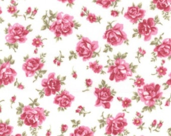 "Pink Flowers on Ivory - Floral 100% Cotton Poplin Dress Fabric - Material - Metre/Half - 44"" (112cm) wide"