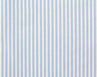"Pale Blue / White - 100% Cotton Poplin Dress Fabric Material - 3mm Stripe - Metre/Half - 44"" (112cm) wide"