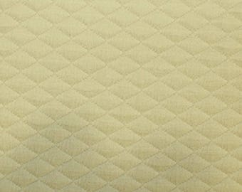 "Beige - Stretch Quilting Fabric Material - Polyester - 150cm (59"") wide, 7 Colours, Diamond Pattern"