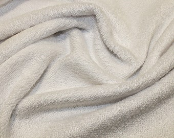 "White Bamboo Terry Towelling Fabric - Plain Solid Colours - Towel Material - 150cm (59"") wide"