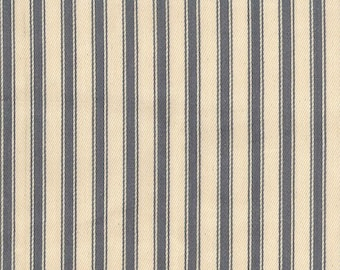 "Grey on Ivory - 100% Cotton Ticking Stripes Fabric Material - 137cm (53"") wide"