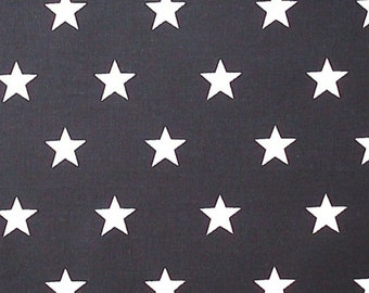"White Stars on Black (20mm) - 100% Cotton Poplin Dress Fabric - Material - Metre/Half - 44"" (112cm) wide"