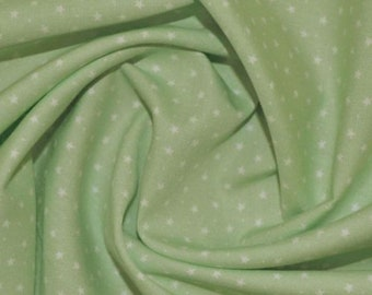 "White Stars & Spots on Mint Green - 100% Cotton Poplin Dress Fabric Material - 3mm Stars - Metre/Half - 44"" (112cm) wide"