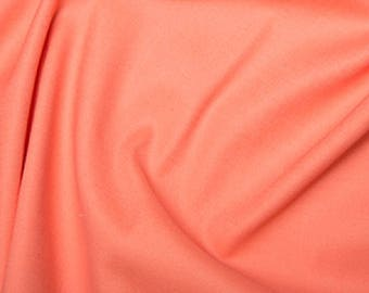 "Peach Orange - Plain Cotton Stretch Sateen Fabric Dress Material - 146cm (57"") wide"