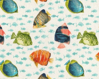 "Tropical Fish - 100% Cotton Poplin Dress Fabric - Metre/Half - 60"" (150cm) wide"