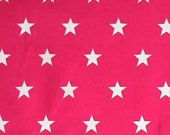 "White Stars on Cerise Pink - 100% Cotton Poplin Dress Fabric Material - 20mm Stars - Metre/Half - 44"" (112cm) wide"