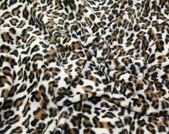 "Snow Leopard - Animal Print Polyester Velboa Fabric - Metre/Half - Faux Fur Pony Skin 58"" (145cm) wide Velour"