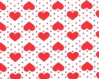 "Hearts and Spots - Red on White - 100% Cotton Poplin Dress Fabric - Material - Metre/Half - 44"" (112cm) wide"